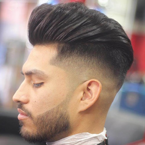 Pompadour with Mid Fade and Beard