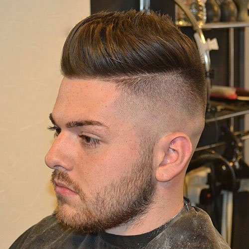 Undercut Fade with Faux Hawk and Beard