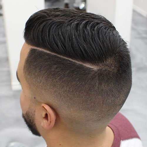 Undercut Fade with Hard Part and Beard