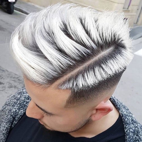 Hard Part Comb Over with Mid Skin Fade
