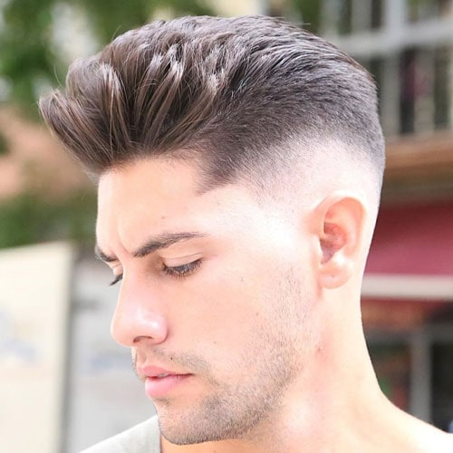 High Drop Fade with Quiff