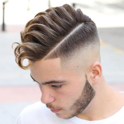 High Skin Fade with Faux Hawk and Part