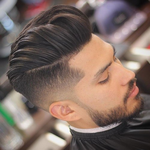 Low Fade with Thick Quiff and Beard