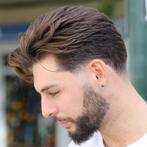 Quiff with Short Sides and Thick Beard
