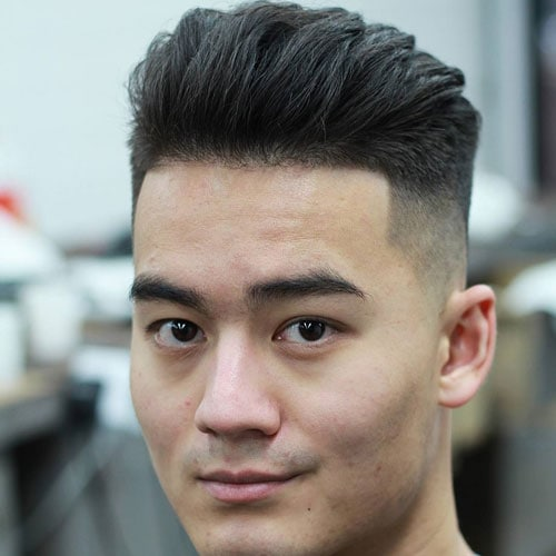Temple Fade with Brushed Back Hair