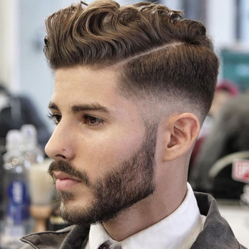 Wavy Hair Comb Over Fade