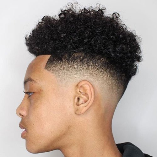 Curly High Top Afro + Low Razor Fade