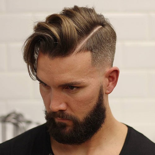 Hard Part Comb Over + Low Bald Fade + Beard
