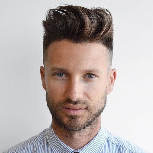 High Bald Fade + Long Quiff + Beard