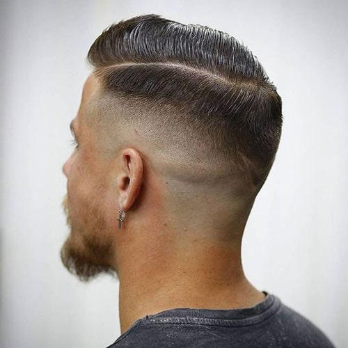 High Shave Fade + Slick Hard Side Part
