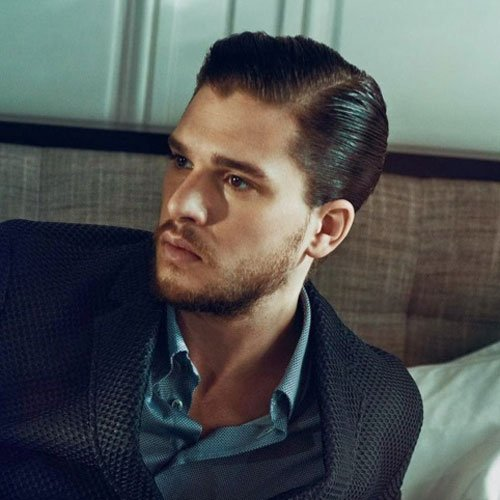 Kit Harington Haircut - Hard Side Part + Slicked Back Sides