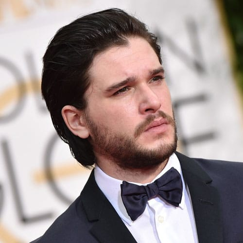 Kit Harington Haircut - Long Slicked Back Hair with Full Beard
