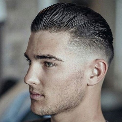 Low Bald Fade + Slicked Back Hair