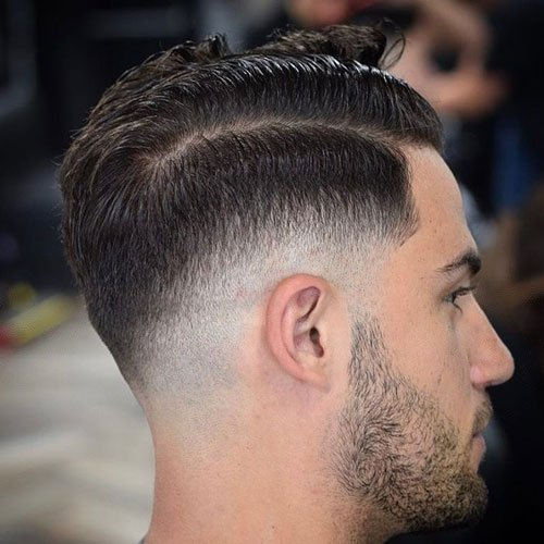 Good Low Razor Fade + Hard Side Part + Beard