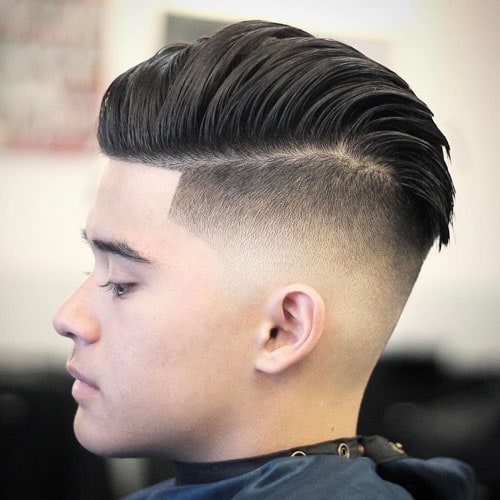 Low Skin Fade + Comb Over Pomp