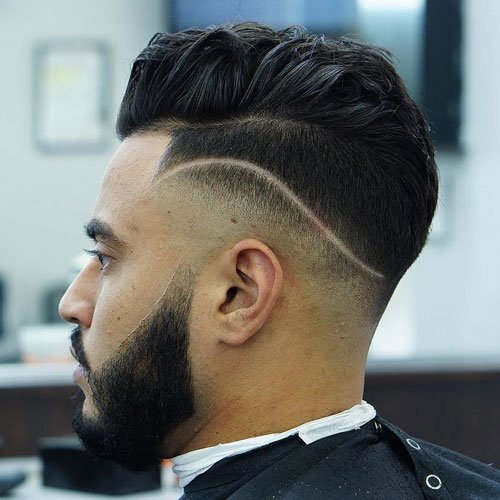 Low Skin Fade + Part + Short Thick Hair + Beard