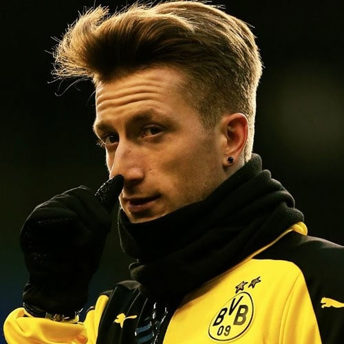 Marco Reus Hairstyle - Textured Comb Over Fade + Long Side Swept Fringe
