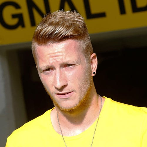 Marco Reus Hairstyle - Undercut + Thick Comb Over + Stubble