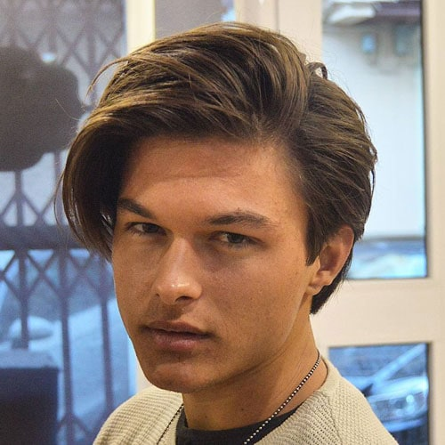 Medium Hairstyles For Men - Long Side parted Hair