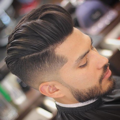 Medium Length Hairstyles For Men - Modern Pompadour + Undercut Fade + Beard