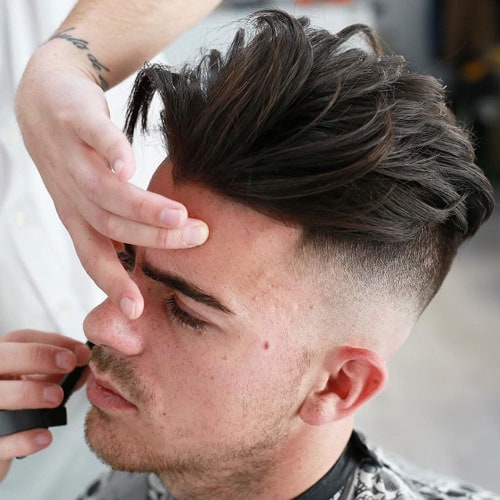 Medium Men's Haircuts - High Razor Fade + Textured Layered Top