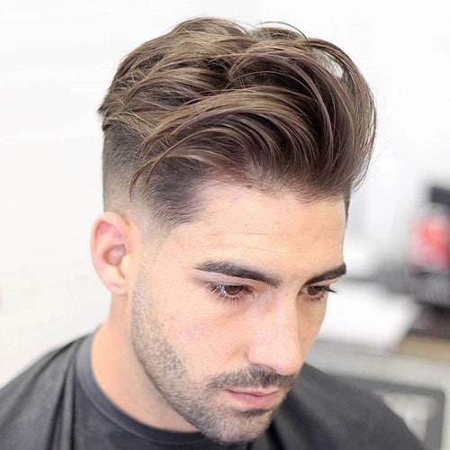 Mid Fade + Textured Medium Hair + Stubble