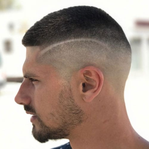 Razor Fade + Line Design + Buzz Cut
