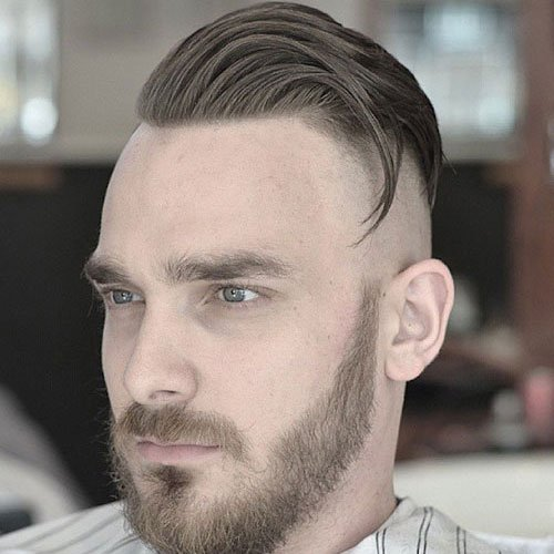 Shaved Sides + Comb Over + Full Beard