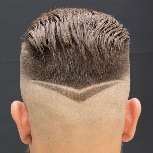 Shaved Sides + Slicked Back Hair + V-Shape