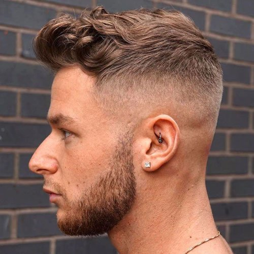 High Fade + Textured Wavy Quiff + Beard