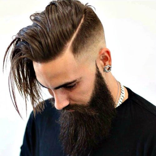 Long Hard Part Comb Over Fade + Full Long Beard