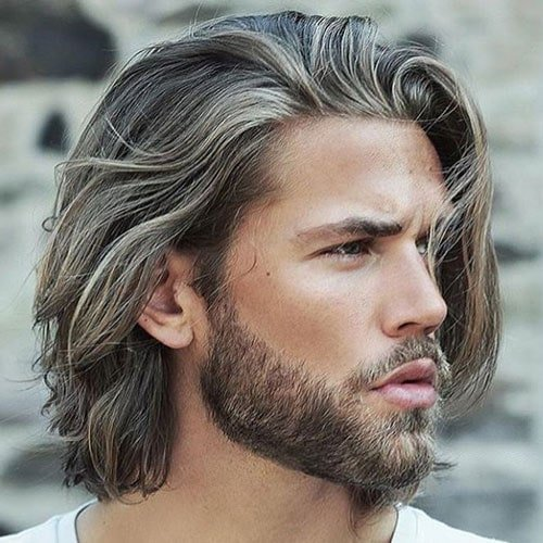 Long Textured Hair + Short Full Beard