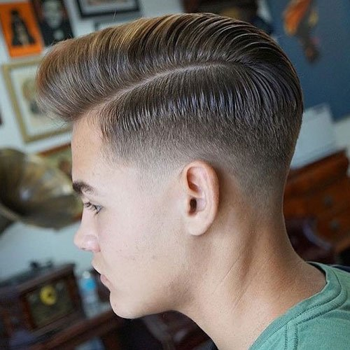 Low Taper Fade + Part + Comb Over Pomp