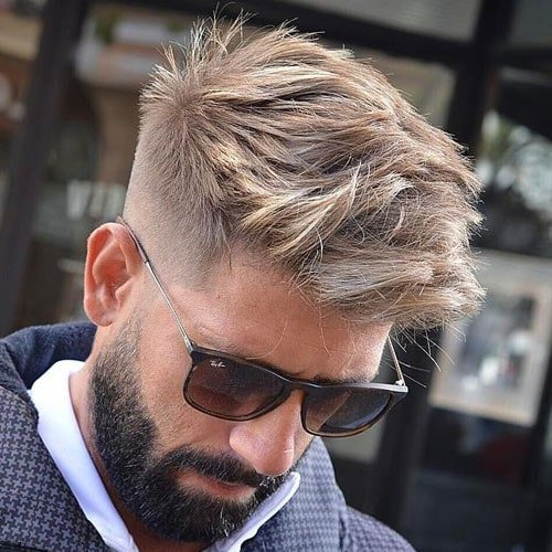 Messy Textured Hair + High Fade + Thick Beard
