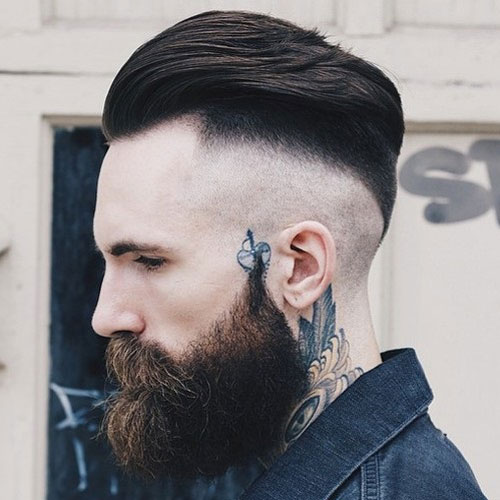 Razor Undercut Fade + Slicked Back Hair + Thick Beard