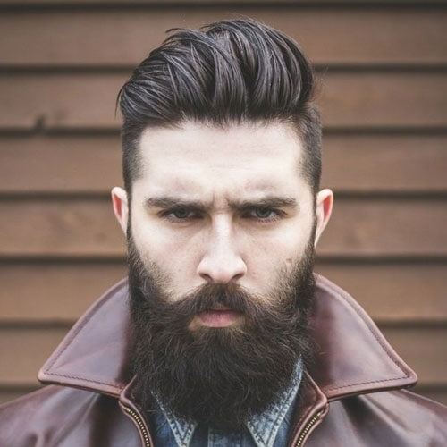 Short Sides + Brushed Up Top + Thick Long Beard