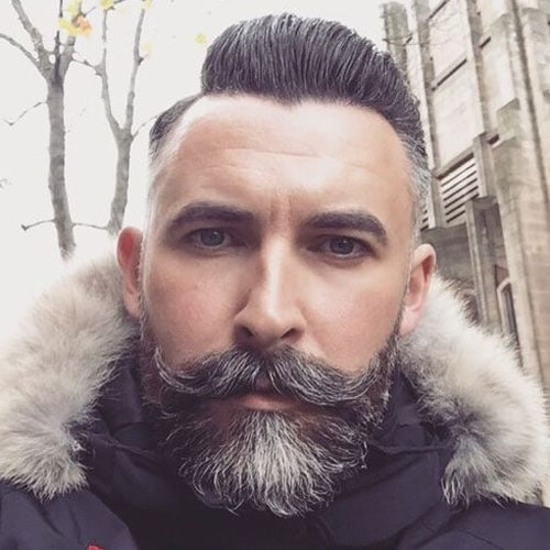Classy Hairstyles For Men - High Fade + Side Part + Full Beard + Handlebar Mustache