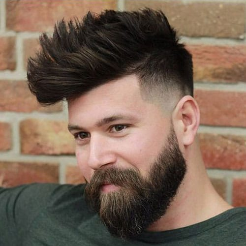 Fade + Line Up + Faux Hawk + Long Beard