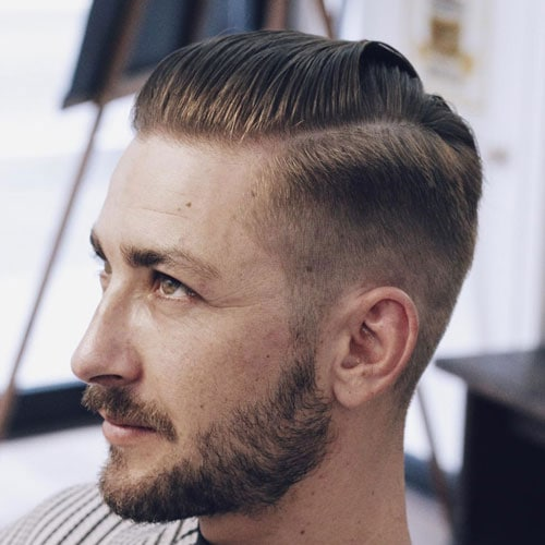 High Fade + Slick Comb Over + Part