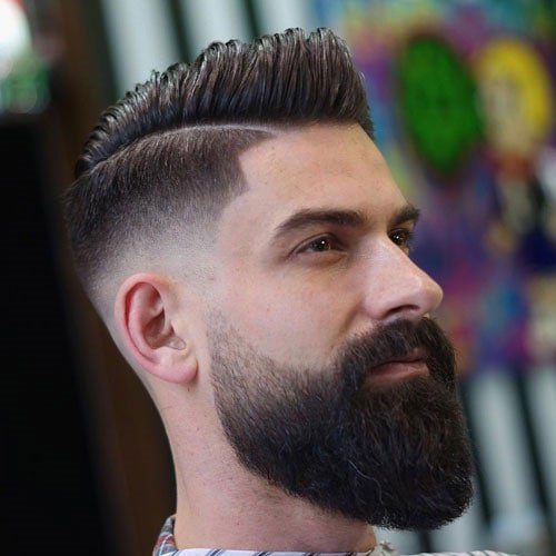 Big Comb Over + Mid Fade + Long Beard
