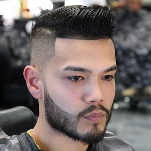 Comb Over Quiff + High Bald Fade + Cool Beard Design