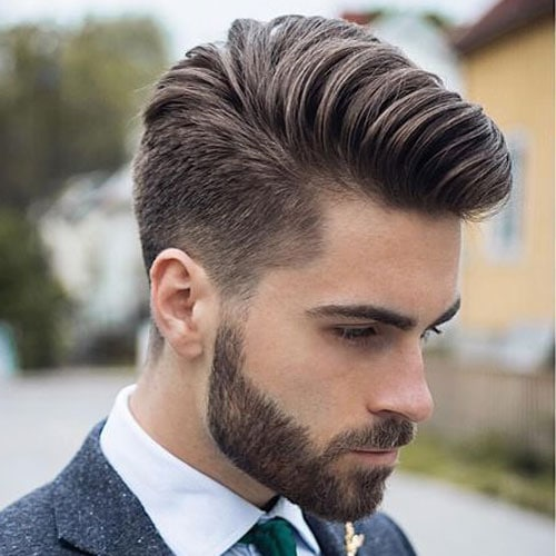 Low Fade + Comb Over + Beard