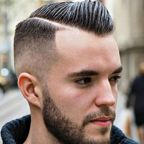 Short Comb Over - Hard Side Part +High Bald Fade