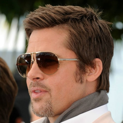 Brad Pitt Haircut - Short Textured Hair + Tapered Sides + Goatee