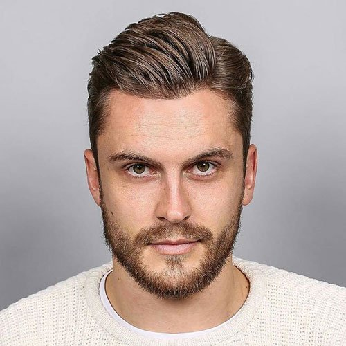 Classic Side Part + Tapered Sides + Beard
