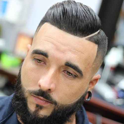 Comb Over Fade + Hard Part + Line Up + Beard Design