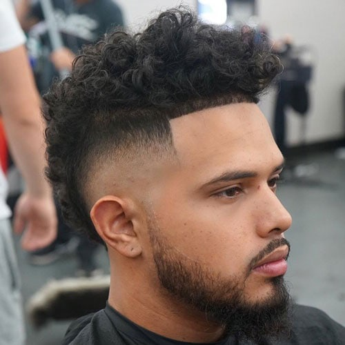 Curly Mohawk + High Burst Fade + Edge Up