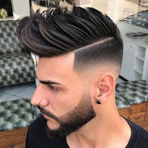 Faux Hawk + Low Skin Fade + Hard Part