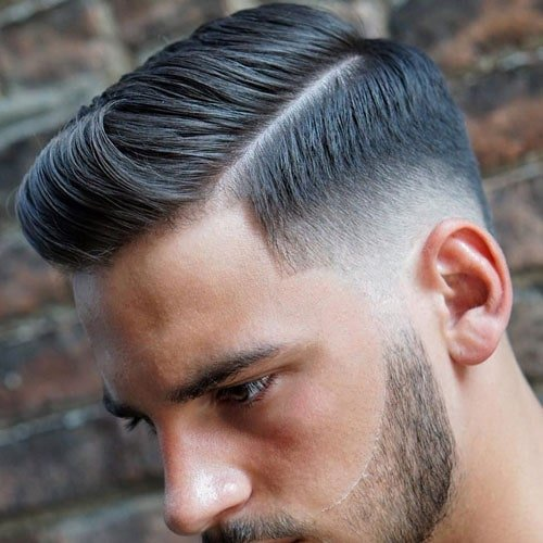 Hard Side Part + Low Taper Fade + Beard