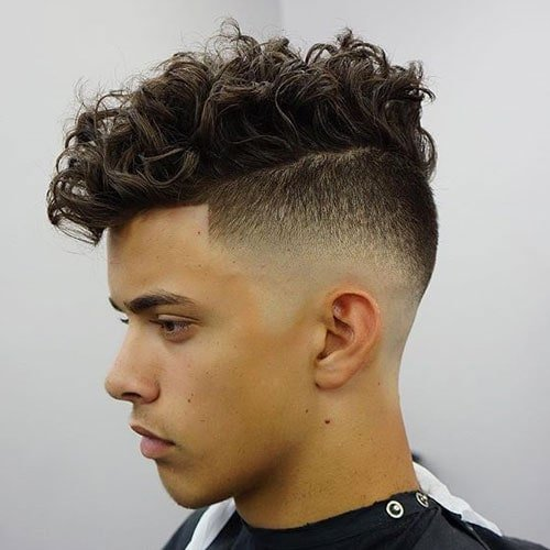 High Razor Fade Shape Up Messy Curly Hair